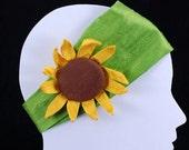 HOLIDAY GIFT SALE!  Boho Silk Elastic Headband Hair Fascinator Sunflower Lime Wide Band