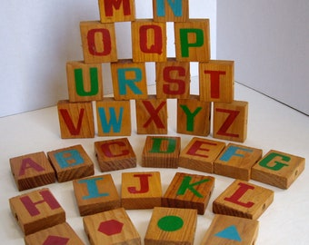 Vintage wood blocks props toys learning crafts handmade painted 1960s