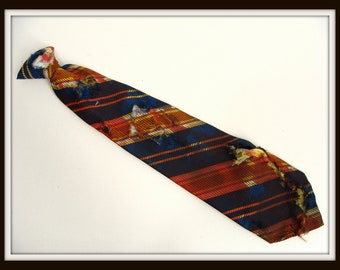 Custom Made vintage 70s Blue & Gold Clip on Necktie Zombie Vampire or Werewolf Costume