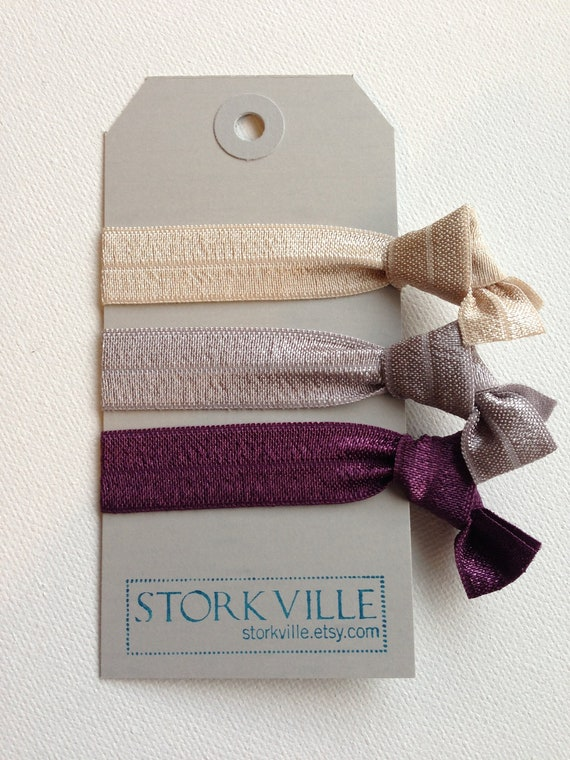 Champagne, Gray and Plum Purple Hair Ties : Christmas Stocking Stuffer