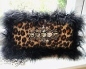 SALE  75% OFF   Leopard Print Beaded Handbag