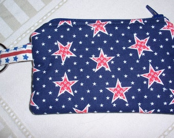 Zipper Pouch Coin Purse Key Ring Stars Red White Blue Cotton Fabric Patriotic Americana