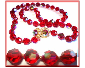 Vintage Beaded Necklace Red Glass Iridescent Designer Dress Cocktail Garden Party Mad Men Rockabilly Gown