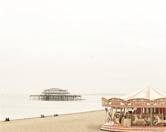 "Beach photography, carousel, Brighton beach fine art photo, ""Yesterday's Brighton"", 8x10"