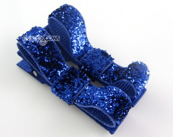 Glitter Hair Clips in Royal Blue - Toddler Hair Clips - Baby Hair Clips - No Slip Grip for Fine Hair Tuxedo Bows
