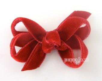 "Red Velvet Hair Bow 2"" extra small mini, baby velvet hair bow, newborn hair bow, infant hair bow christmas hair bow, red velvet hair clip"