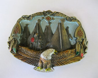 Native American Teepee Belt Buckle Bald Eagle Southwest Style. Free US Shipping