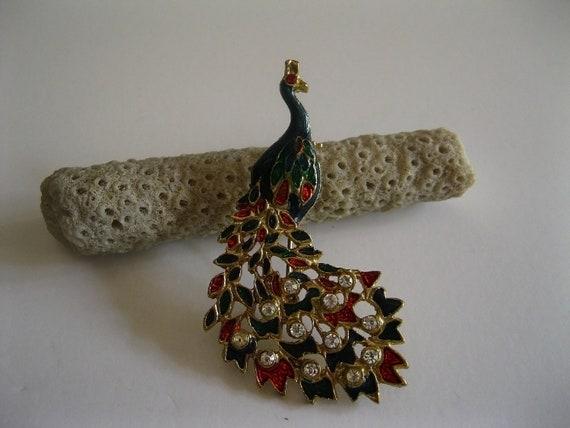 Peacock Brooch Rhinestones Goldtone Enamel Vintage