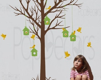 "Bird Nest Wall Decals Tree Wall Sticker Flying Birds Decal Playroom Wall Decals- Love Home Tree Decal (78"" H) -Designed by Pop Decors"
