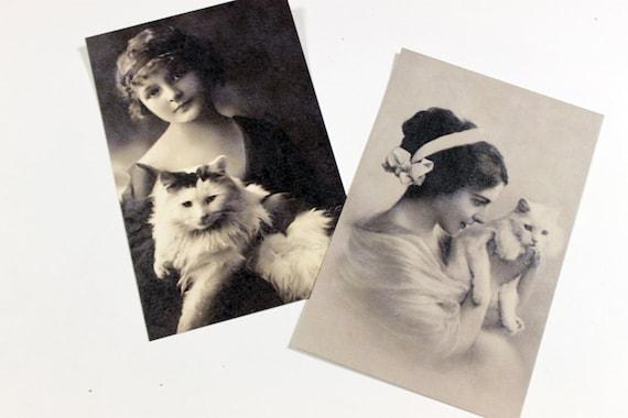 Cat lover postcard set, vintage inspired, My Cat, Nero - set of 10 postcards