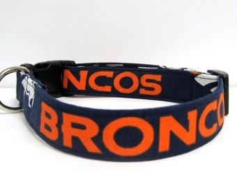 "Denver Broncos Dog Collar-  1"" Wide -  Medium & Large Sizes"