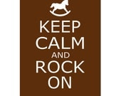 SALE - 5x7 Keep Calm and Rock On - Rocking Horse Silhouette - Modern Nursery - Chocolate Brown and White