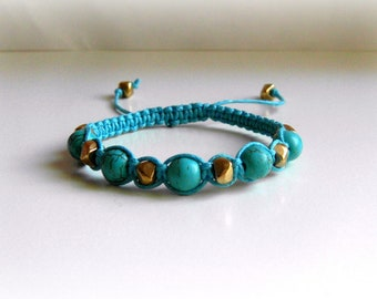 Turquoise Golden Nuggets  Macrame Bracelet Stacking Bracelet Charm Bracelet Adjustable length Friendship Bracelet Braided