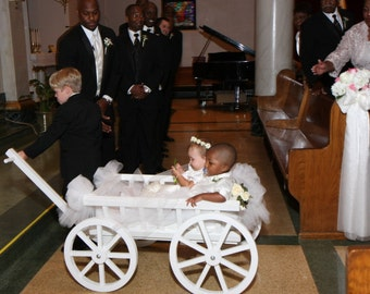 Large Flower Girl Wedding Wagon -  Gloss White or Ivory