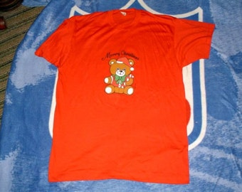 Merry Christmas 1986 Teddy Bear logo vintage t shirt large