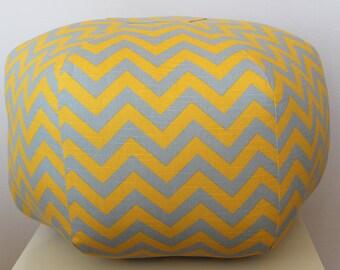 "24"" Ottoman Pouf Floor Pillow Yellow Grey Zig Zag Chevron"
