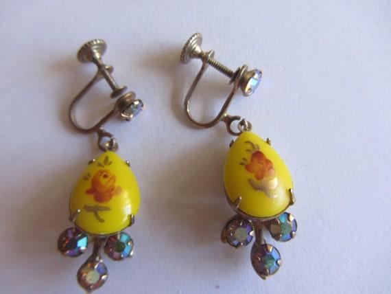 Vintage Yellow Floral Rhinestone Drop Earrings