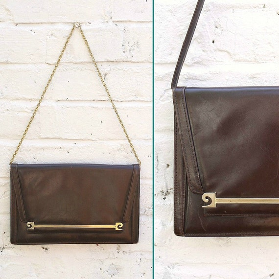 Vintage 70s Brown Leather Pierre Cardin Handbag with Changeable Leather and Chain Straps