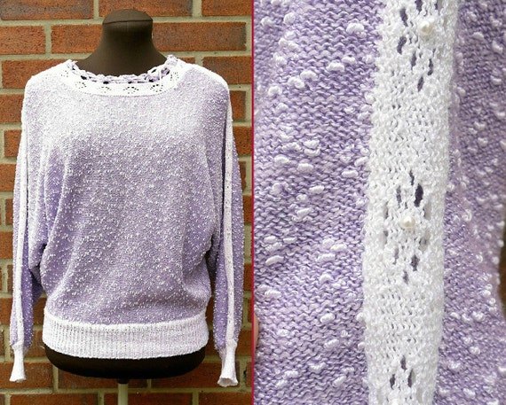 Vintage 80s Oversized Lilac and White Textured Sweater with Open Knit Sleeves