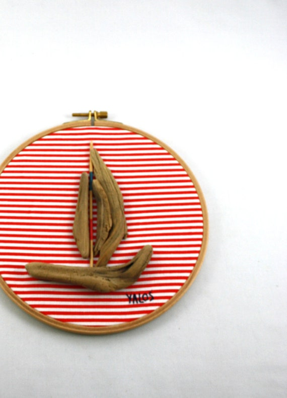 driftwood sailboat embroidery hoop art...20 cm...mixed media...on red/white striped fabric...maritime and nautical art
