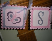 Baby Shower Banner, Butterfly Sugar and Spice baby Shower Banner, Pink and lavender baby banner, Matching Tissue Pom Poms Are Available