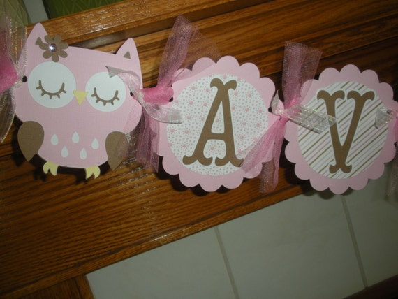 Baby Name Banner Pottery Barn Caroline Collection Matching tissue pom poms available