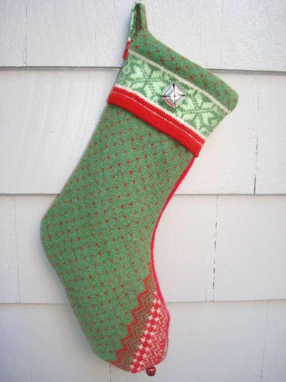 Full Size CHRISTMAS STOCKING Felted Wool & Sweaters Up-cycled Recycled Re-purposed Sweater Stockings Sox
