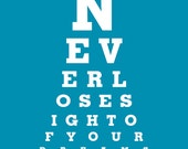 """Eye Exam Chart Print """"Never Lose Sight Of Your Dreams"""" Motivational Home Decor Art"""