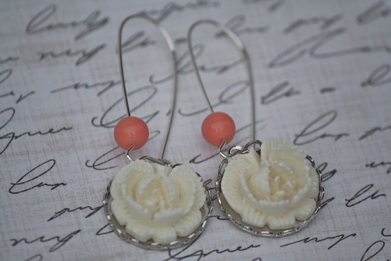 Shop Clearance - SALE - Last ONE - Vintage Ivory Rose and Coral Bead Dangle Earrings