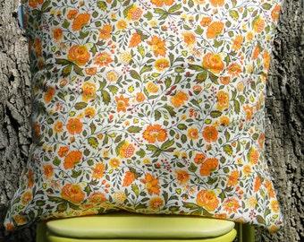 Orange Flowers Vintage Fabric 16x16 Pillow Cover
