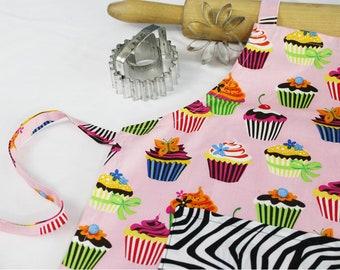 Retro Cupcakes Child Apron with Zebra Pocket