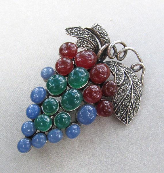Grape Cluster Brooch Sterling Silver Marcasite And Gem Stones Vintage Pin