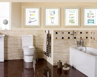 Bathroom rules art // Bathroom Rules for Kids // Bathroom Art prints // Wash your Hands Art // Brush your teeth Art // Four PRINTS ONLY