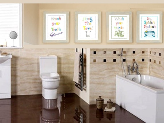 Bathroom Rules Art Prints Set Of Four 8x10 Prints Great For Boy Or