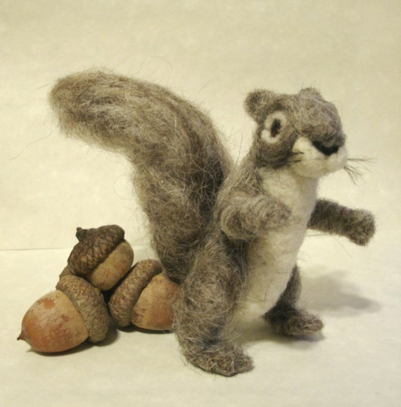 Needle Felted Squirrel Baby, Needle Felted Animals, Squirrel Art Doll Figurine