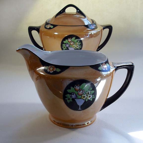 James Studio Orange Lusterware  Cream & Sugar with Flower Baskets in Black, made in Japan