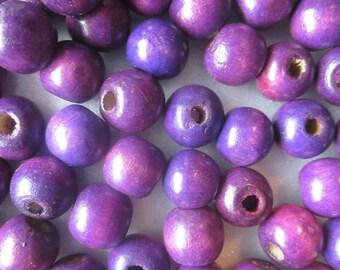 Purple Wood Beads 12mm 20 Beads