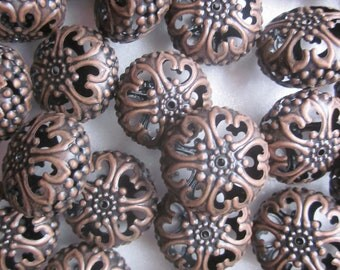 Red Copper Iron Filigree Beads Chunky Coin 23mm 12 Beads