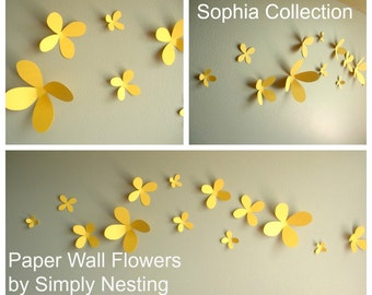 Paper Wall Flowers... Set of 13...Sophia Collection...Choose your colors