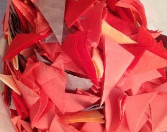 Confetti...9.5 ounces... HAND CUT Tissue Paper Confetti...Coral, Light Gray, French Vanilla, Peach, Red