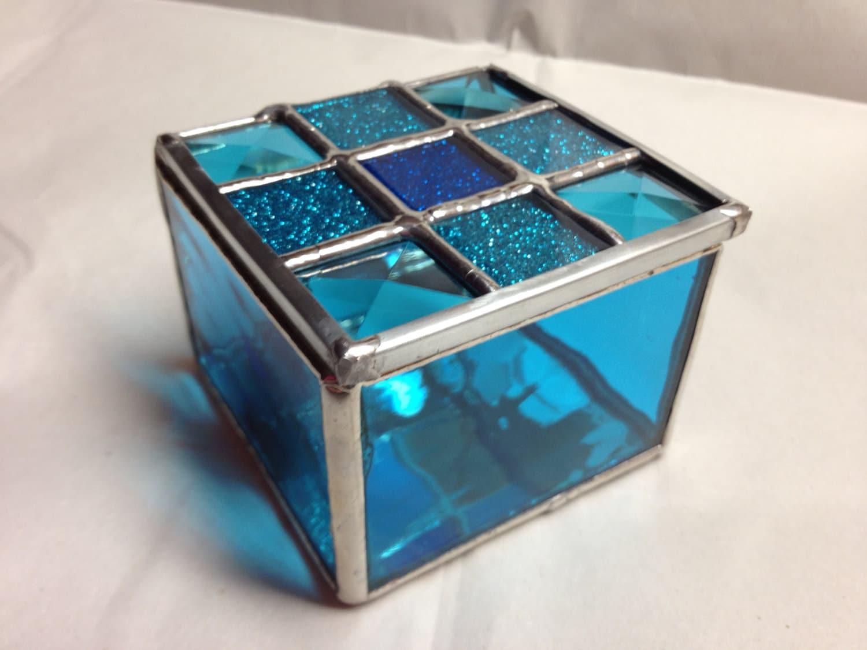 Stained Glass Jewelry Box Mini Blue Sparkle
