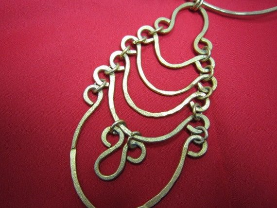 Vintage All Brass Bib Necklace Abstract Design