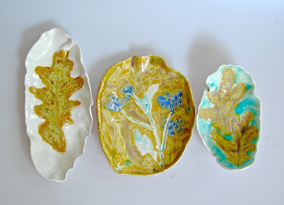 RESERVED FOR MELISSA --Autumn Leaf dish set, tapas dishes for entertaining, trinket dishes, spoon rests