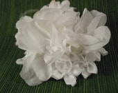 Clusters of pure white flowers, with satin and pearls - Hair Clip / Fascinator
