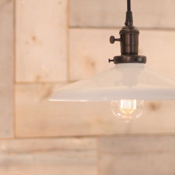 Industrial Lighting With 12 White Metal Shade By
