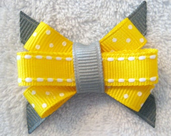 Yellow and Grey Grosgrain Ribbon Itty Bitty Bow