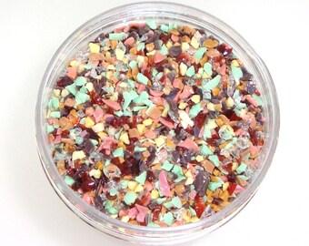 Spumoni Premium Frit Blend for Lampwork Bead Making 96 CoE Strawberry Pink Chocolate Brown Pistachio Mint Vanilla 4 oz. Jar