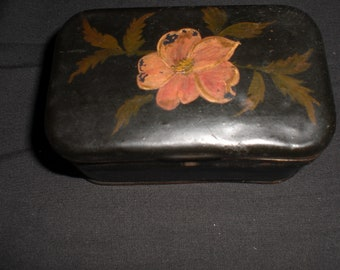 Vintage Folk Art Tin Painted Flowers Metal 1950s to 1960s Black Small Little Tiny