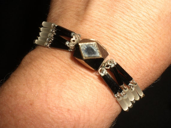 Vintage Black and White Czech Glass Mirrored Bracelet 1930s 1940s