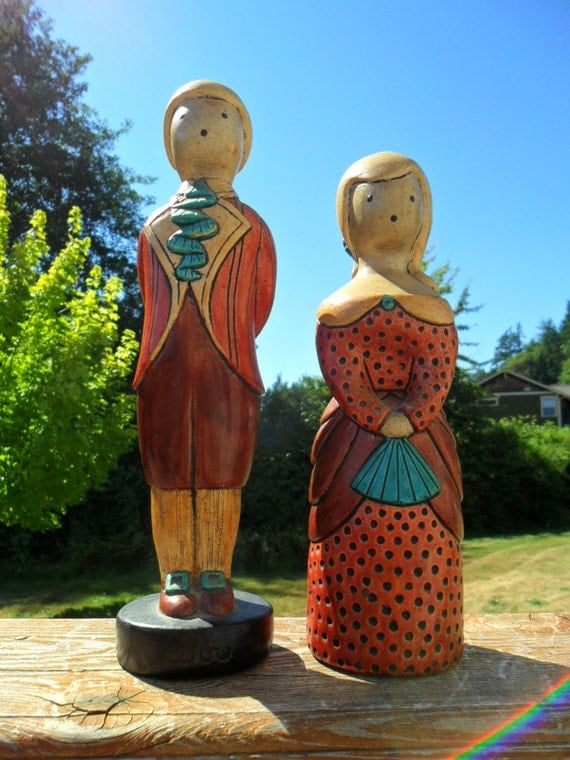 Vintage Statues / Figurines People Hand Painted Man and Woman Home Decor Retro 1970s Chalkware